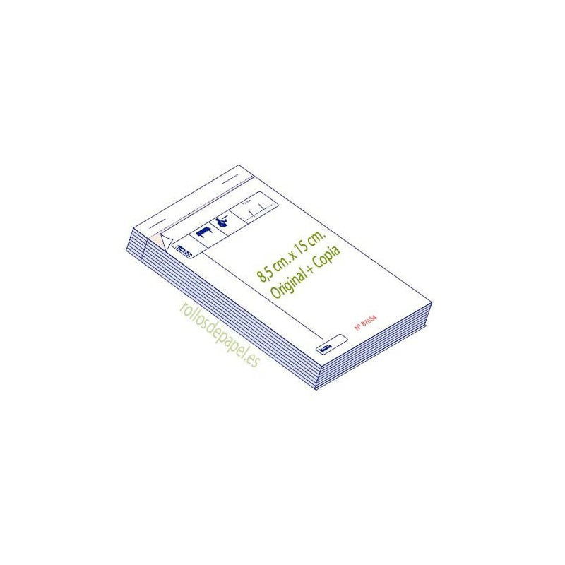Talonario para  comandas DUPLICADO 8.5x15 (Caja...