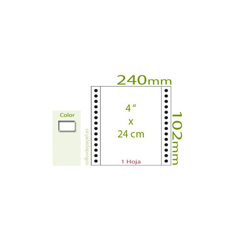 "Papel Continuo blanco 4""x24 cm 1 Tanto (Caja..."