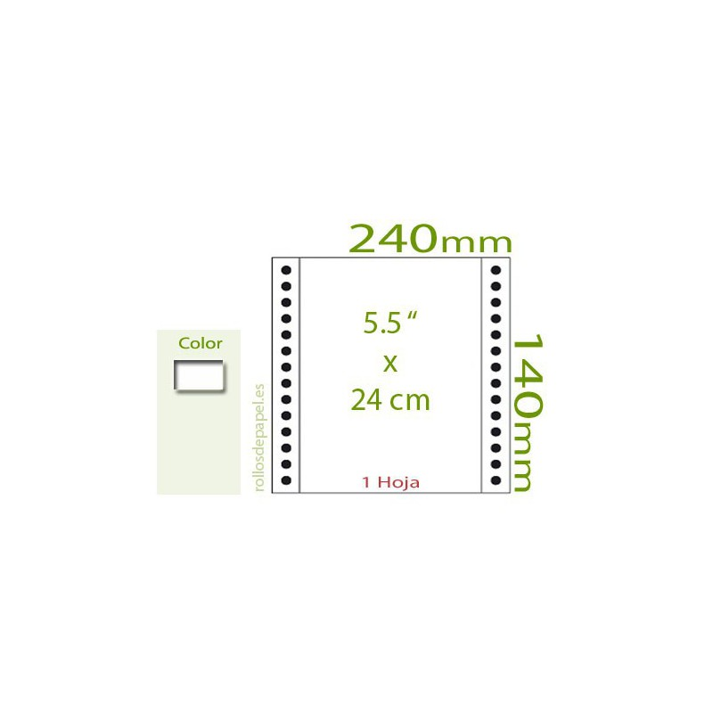"Papel Continuo blanco 5,5""x24 cm 1 Tanto (Caja..."