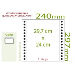 Papel Continuo blanco DIN A4 (29,7x24 cm.)...
