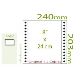 """Papel Continuo Autocopiativo blanco 8""""x24 cm 3..."""
