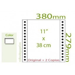 """Papel Continuo Autocopiativo blanco 11""""x38 cm 3..."""