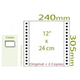 """Papel Continuo Autocopiativo blanco 12""""x24 cm 3..."""