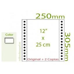 """Papel Continuo Autocopiativo blanco 12""""x25 cm 3..."""