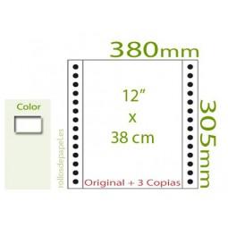 """Papel Continuo Autocopiativo blanco 12""""x38 cm 4..."""