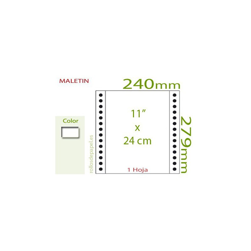 "Papel Continuo blanco 11""x24 cm  (Maletin 1000..."