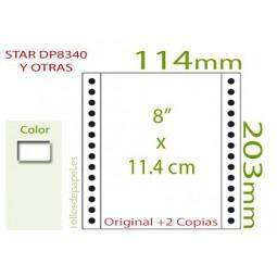 """Papel Continuo Autocopiativo blanco 8""""x11.4 cm..."""